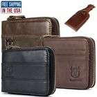 Mens Genuine Leather Wallet RFID Zipper Bifold Purse ID Credit Card Holder Tag