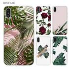 BINYEAE White marble and flowers Clear Cell Phone Case Cover
