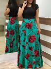 US Women Floral Maxi Dress Short Sleeve Evening Party Summer Beach Long Sundress