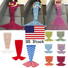 Multicolor Handcrafted Knitted Mermaid Tail Blanket Sleeping Bag for Adult US image