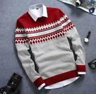 Hot Men Slim Fit Students Stripe Casual Sweater Round Collar Coat Stylish Party