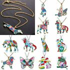 Fashion Rainbow Colorful Printing Dog Pendant Necklace Christmas Gift Jewelry