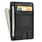 Business Men Genuine Leather RFID ID/Card Box Holder Wallet Thin Travel Purse