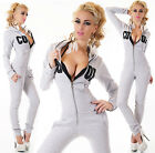 Fleece Overall seXy Jumpsuit Hoodie Kapuze Sweater Overall grau   L*