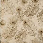 Peacock Tail Wallpaper ET2018 grey beige gold gray bird nature washable feather