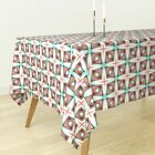 Tablecloth Mint Coral Geometric Retro Mid Century 50S Cotton Sateen