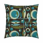 Mid-Century Mid Century Retro Throw Pillow Cover w Optional Insert by Roostery