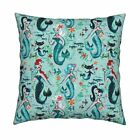Mermaids Mermaid Retro Mermaid Throw Pillow Cover w Optional Insert by Roostery