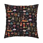 Las Vegas Kitsch Retro Throw Pillow Cover w Optional Insert by Roostery