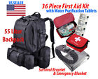 55L Military Tactical Hiking Camo Backpack w/ First Aid Kit & Survival Bracelet