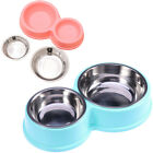 Dual Dog Bowl Anti-Corrosion Stainless Steel Food Holder Food Bowl for Dog Pet
