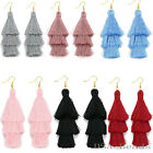 Fashion Charm Crystal Silk Tassel 3 Layers Fan Fringe Dangle Earrings Bohemian  image