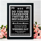 PERSONALISED Wedding Signs Facebook Twitter Instagram Social Media Wedding Signs