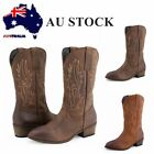 AU FREE SHIP Women's Leather Western Cowboy Boots Embroidery Wedding Shoes