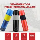 Portable French Press Travel Mug Coffee Maker Double Camping Bottle US