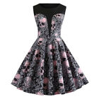 US Fashion Women Halloween O-Neck Skull Floral Print Vintage Evening Party Dress