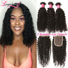 3Bundles with 4*4 Closure 100% Indian Virgin Curly Hair Extensions Human Hair 8A