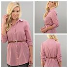 New striped woven belted tunic button front blouse