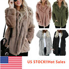 Women's Warm Fleece Fur Jacket Outerwear Tops Hooded Fluffy  Oversize Coat USA