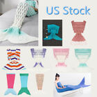 Adult Kids Mermaid Tail Sofa Blanket Super Warm Hand Crocheted Knitted Quilt Rug image