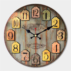 Large Rustic Wood Wall Clock, 16, Worn Blue/Grey Background
