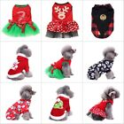 Pet Dog Santa Shirt Christmas Puppy Dress Clothes Warm Hoodie Jumpsuit Costumes