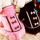 Pet Dog Winter Hoodie Coat Jacket Puppy Hooded Bowknot Fleece Sweater Clothes US