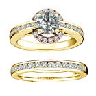 1 Carat White Round Diamond Solitaire Halo Beautiful Bridal Ring 14K Yellow Gold