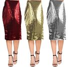 New 12-22 Stretch Sparkly Sequin Midi Pencil Skirt Party Gold Red Silver Ladies
