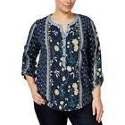 Style&Co. Women's Plus End Scarf Blue Floral Mixed-Print Henley Top 1X-3X