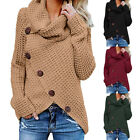 Women's Chunky Turtle Cowl Neck Asymmetric Hem Wrap Sweater Coat Button Details