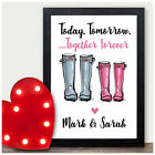 Personalised Couples Welly Boot Print Gifts Anniversary Him Her Husband Wife