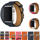 for Apple iWatch Band 4 Leather Double Tour Strap 42mm 38mm 3 2 1 Watchband
