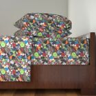 Buttons Sewing Supplies Craft Colorful Cotton Sateen Sheet Set by Roostery