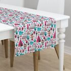 Table Runner Baby Nursery Retro Indian Woodland Fish Owl Cotton Sateen