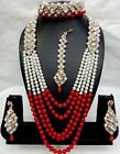 Indian Fashion Diwali Bridal Wedding Pearl Jewelry Gold Necklace Earring Set