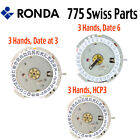 Harley Ronda 775 Quartz Watch Movement, 3 Hands, Date at 3 or 6 (Swiss Parts) image
