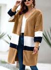 Women's fur cardigan knitted sweater split joint long coat warm wollen sweater