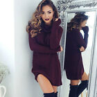 2019 Womens Cowl Neck Loose Long Sleeve Oversize Sweater Jumper Shirt Tops Dress