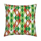 Deerhead Stag Argyle Christmas Throw Pillow Cover w Optional Insert by Roostery