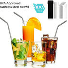 Reusable Drinking Metal Stainless Steel Straw 2 Cleaner Brush Home Party Barware