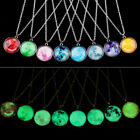 1PC Glow In The Dark Galaxy Planet Pendant Necklace Glass Gem Sweater Necklace