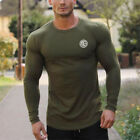 Men Soft Cotton Long Sleeves T Shirts Sports Gym Wear Fitness Workout Clothing