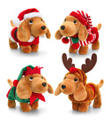 Keel Toys Douggie The Sausage Dog Plush Toy In Christmas Suit Outfits 26cm