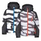 Trespass Shredded Boys Waterproof Ski Jacket with Hood in Black & Grey