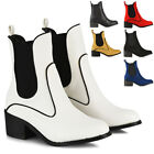 Womens Ankle Boots Block Low Mid Heel Ladies Western Pull On Gusset Chelsea Shoe