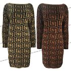Womens Ladies Fendi Tribal Knitted Cuffed Jumper Dress Long Party Sweater Top