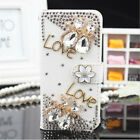 Hot For iPhone 6s 7 Samsung S7 Bling Crystal Synthetic Leather Wallet Card Case