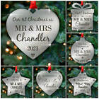 First Christmas Mr & Mrs PERSONALISED Wedding Gift Xmas Tree Bauble Decorations
