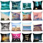 "18"" Beach Words Cotton Linen Throw Pillow Case Sofa Car Cushion Cover Home Decor image"